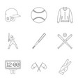 baseball equipment icons set outline style vector image vector image