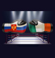 boxing gloves with prints of irish and russian vector image vector image