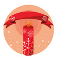 candle decoration christmas ribbon badge vector image vector image