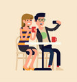cheerful couple doing selfie in a cafe flat of vector image