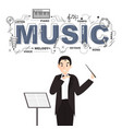 conductor with music icons on white background vector image