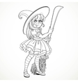 Cute little girl dressed as witch with a broom vector image vector image