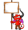 Devil Mascot Holding Sign vector image