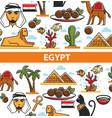 egypt travel poster of landmark symbols vector image vector image