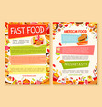 fast food poster of fastfood dish and meals vector image vector image