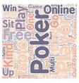free online poker text background wordcloud vector image vector image