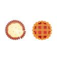 fruit dessert pie icons in cartoon style vector image vector image