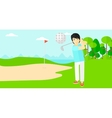 Golf player hitting the ball vector image vector image