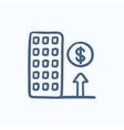 Growth of real estate market sketch icon vector image
