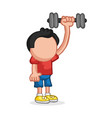 hand-drawn cartoon of man standing pumping vector image vector image