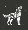 hand drawn typography poster with white howling vector image vector image