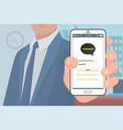 kakao talk korean messenger in hand businessman vector image vector image