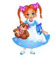 little redhead girl with two braided pigtails vector image vector image