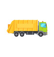 modern huge garbage truck with long yellow trunk vector image vector image