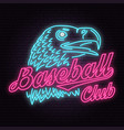 neon baseball club badge vector image