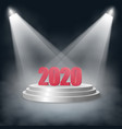 new year 2020 standing on a pedestal with steps vector image