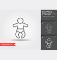 newborn baby line icon with editable stroke with vector image