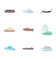 Ocean transport icons set cartoon style vector image vector image