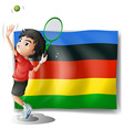 Olympics flag with tennis player vector image vector image