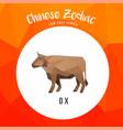 ox buffalo chinese zodiac animals low poly logo vector image