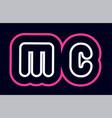 pink white blue alphabet combination letter mc m vector image vector image