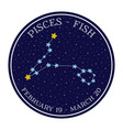 pisces zodiac constellation in space round icon vector image