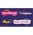 Plane flying with Merry Christmas banners vector image vector image