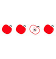 red apple set in a row line whole and half vector image vector image