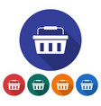 round icon of shopping basket flat style with vector image
