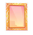 royal mirror in golden frame with floral decor vector image