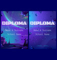 school diploma with alien planet in space design vector image vector image