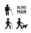 set blind man and seeing eye dog vector image vector image