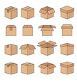 set of abstract box line icons vector image vector image