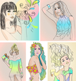 set of beautiful girls vector image vector image