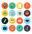 Set of colorful flat school and education icons vector image vector image