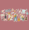 set stickers stringed instruments theme vector image