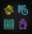Set travel schedule concept neon icons
