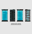 set various cartoon server racks server rack vector image