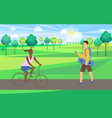 skateboarder and bicyclist in park nature vector image vector image