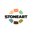 stones logo creative color art stones around text vector image vector image