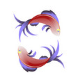 stylized sea fish icon vector image vector image