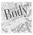 The Big Picture in Body Building Word Cloud vector image vector image