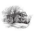 two story house vintage vector image vector image