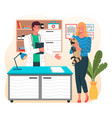 veterinarian with clipboard and girl with racoon vector image