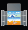 view from the window on the paradise beach vector image