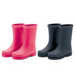 waterproof rain rubber boots set realistic 3d vector image