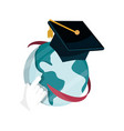 world graduation hat online education isolated vector image
