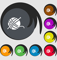 Yarn ball icon sign Symbols on eight colored vector image