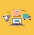 yellow background with laptop computer with steps vector image vector image