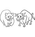 bear and bull market cartoon vector image